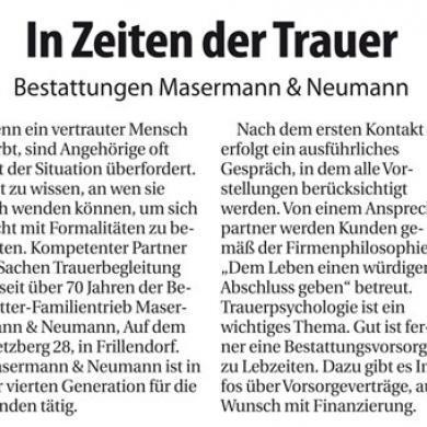 Bericht im Nordanzeiger Essen