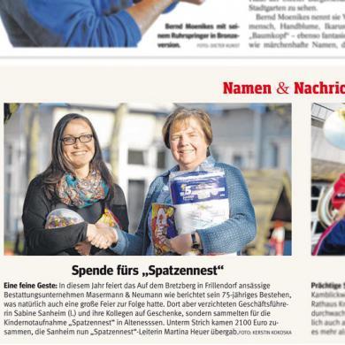 Zeitungsbericht in der WAZ- Spende fürs Spatzennest Essen