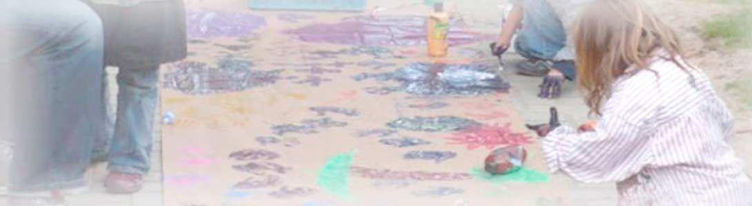 Bodenmalerei in der Kindernotaufnahme Spatzennest in Essen